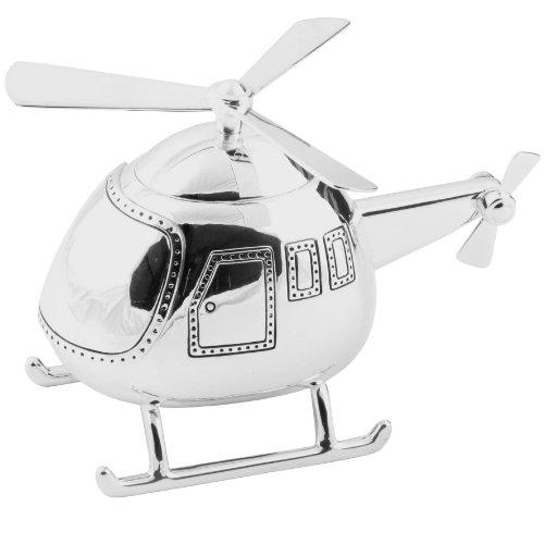 Schöne Helicopter Spardose versilbert Taufe Boy Contribution