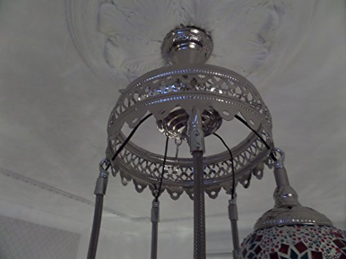Turkish Ceiling Light, Hand Made 5 Glass and 'SILVER' Moroccan Mosaic Glass Light
