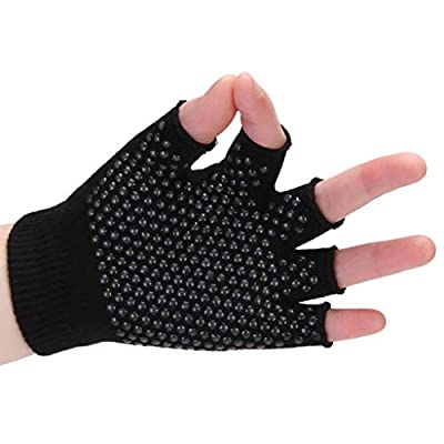 Vacally Cotton Non-Slip Yoga Gloves Bicycle Fitness Sports Thickened Ventilation Bubble Protection Half Finger Wear Gloves