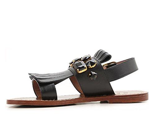 Sandales plates Marni en cuir noir avec frange et cristaux - Code modèle: SAMSW21C00 LV702 00N99 Noir