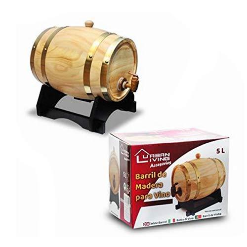 Cisne 2013, S.L. Barril de Madera Dispensador para Vino de 5,5L. Dispensador de Vino Tonel de Madera Dorado. Capacidad 5,5L