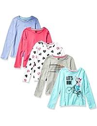 Marca Amazon - Spotted Zebra 5-Pack Long-Sleeve T-Shirts Niñas