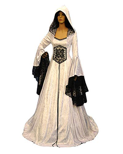 Runyue Donna Abito Vestito Medievale a Manica Campana Cosplay Gotico Rinascimentale Mantello Costume Goth Bianco XL