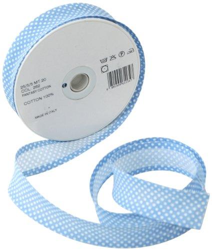 Inastri - Cinta bies de algodón, 25/5/ 5 mm, color azul celeste con lunares blancos 262