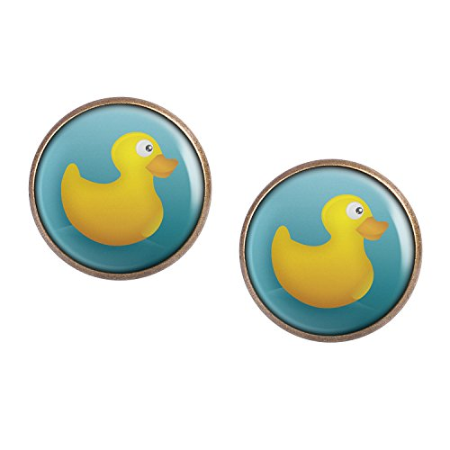 Mylery Ohrstecker Paar mit Motiv Quietsche-Ente Gummi-Ente Bade-Ente Gelb Blau bronze 16mm