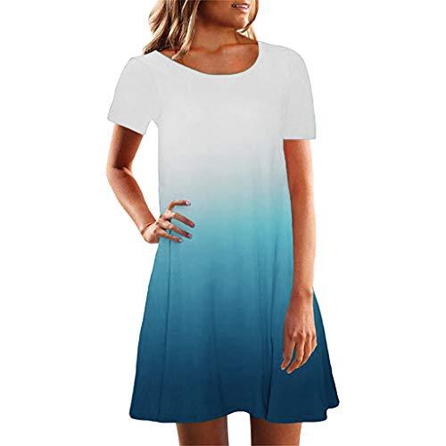 Shirt Lose Tunika Kurzarm T-Shirt Kleid Steigung drucken Trägerkleid Sommerkleid Elegant Ärmellos O-Ausschnitt Casual Strandkleid Minikleid ()
