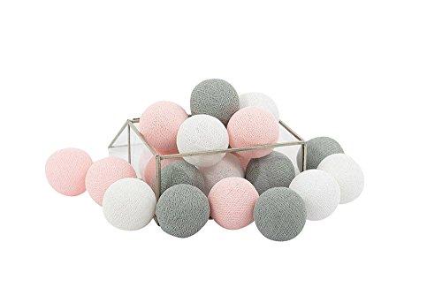 20 Baumwolle Kugel Lichterkette Stoff Ball Zuhause Schlafzimmer Dekor Wohnkultur Festlich Hochzeiten Geburtstag Party Dekoration (Grau Rosa)