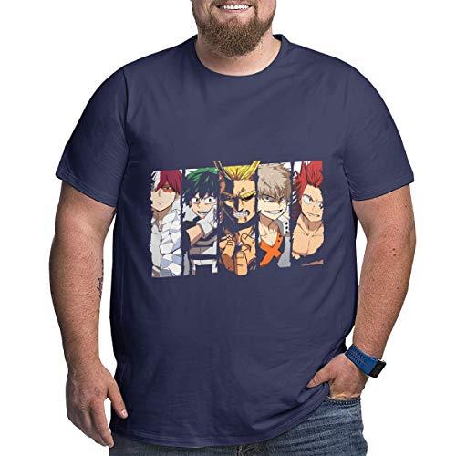 Eivan My Hero Academia Herren T-Shirt Large Size Rundhalsausschnitt Baumwolle Kurzarm Shirt Gr. 56, Navy