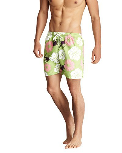 Bottoms Out Men's Swim Shorts Trunks - Green/Flower - Large