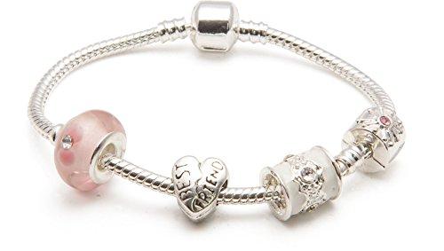 Bling rocks best friend parfait'rosa, in argento, con charm, stile pandora-bracciale con perline, placcato argento, cod. bwp20-23cm