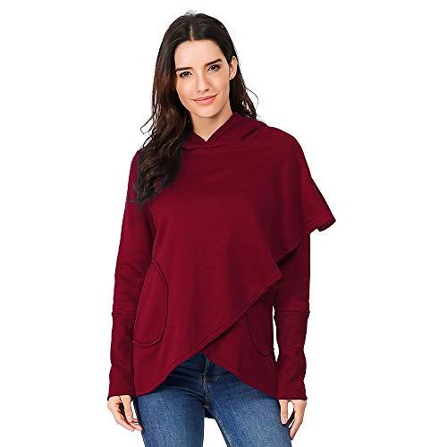 GreatestPAK Damen Hooded Pullis Irregulars Tops Mäntel Langarm Asymmetrischer Saum Wickel Hoodie Sweatshirt Outwear, Wein,S