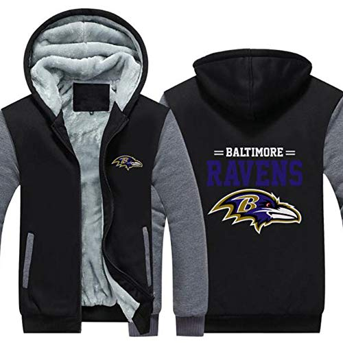 LCY Männer NFL Hoodies - Baltimore Ravens Football Fans Langarm Eindickung beiläufige Reißverschluss Jersey Sweater,B,4XL