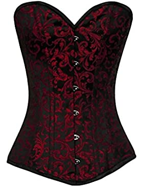 Red Black Brocade Waist Training Bustier Goth Steampunk LONG Overbust Corset Top
