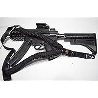 Acido Tactical® 550Paracord corda da paracadute per fucile con bussola e pietra focaia 127cm per Airsoft e Paintball, colore: nero - Paintball Gun Slings