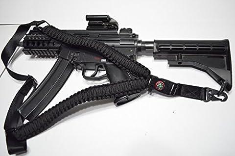 Acide tactique® PARACORDE 550Corde de parachute Rifle Gun Sling Avec boussole et Flint 127cm pour airsoft/paintball–(Noir) - Paintball Gun Slings