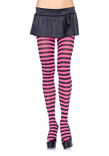 ickdichte Ringel-Strümpfhose Kostüm Damen Karneval, Einheitsgröße, schwarz/neon pink (Playboy Weihnachtsmann Kostüm)