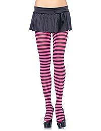 Leg Avenue 7100 - Blickdichte Ringel-Strümpfhose Kostüm Damen Karneval, Einheitsgröße, schwarz/neon pink