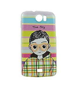 Exclusive Hard Back Case Cover For Micromax A110 Canvas 2 - The Boy With Multicolor Strips In Background