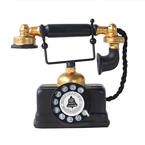 Comtervi Retro Telefon deko, Telefone Europäischen Harz Wählscheibe Telefon Dekoration Cafe Bar Fenster Dekorative Dekoration Requisiten 18 * 16 * 8cm