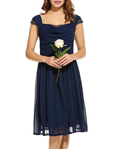 ACEVOG Damen Chiffon Kleid Abendkleid mit Saum Wickelkleid Sommerkleid Freizeitkleid Partykleid Chiffonkleid knielang Dunkelblau knielang