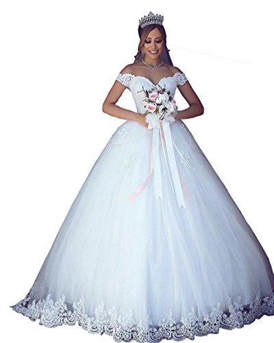 Changjie Damen A linie Brautkleider Hochzeitskleider Prinzessin Off Shoulder Hochzeitskleider Lang...
