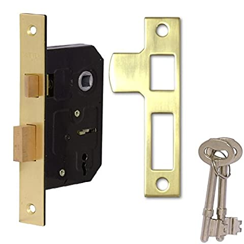 Rhino 2.5 inch/63mm 2 Lever Sashlock, Mortice Locks for Internal Doors, Provides Door Latching in Addition to Lock & Key Door Security, Perfect for Internal Timber Doors. (Brass)