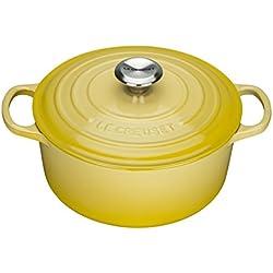 Le Creuset Evolution - Cocotte redonda, de hierro colado esmaltado, 20 cm, color amarillo soleil