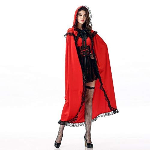 Kostüm Pommes Rot Weiß - Frauen Lange Cosplay Kleid + Lange