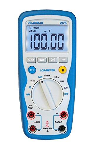 PeakTech Multimeter / Lcr Messgerät 20H / 110 MF / 110M Ω - Großer Kapazitätsmessbereich für Audiotechnik / IP67 wasserdicht - mit Durchgangsprüfer und Diodentest, 1 Stück, P 2175