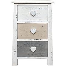 Diseño armario mesita de noche blanco corazón dormitorio vintage muebles Source 3 cajones en forma de corazón (bacalao. 0-1644)