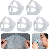 wyzesi Marco interior de máscara transparente,soporte de silicona 3D para una respiración cómoda, lavable y reutilizable,Mantén la tela fuera de la boca (10 x 8.5 x 3 CM/5PC)