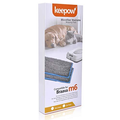 KEEPOW 4 Waschbare&Wiederverwendbare Mopps Pads für iRobot Braava Jet M6134