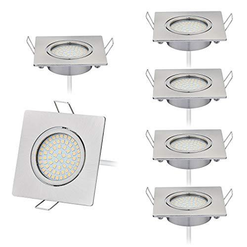 Lot de 6 spots LED encastrables au design plat 230 V seulement 20 mm Profondeur d'encastrement : 3000 K, 430 lumens, Ra >80, 4 W, acier inoxydable brossé, angle d'éclairage 120°, spot orientable