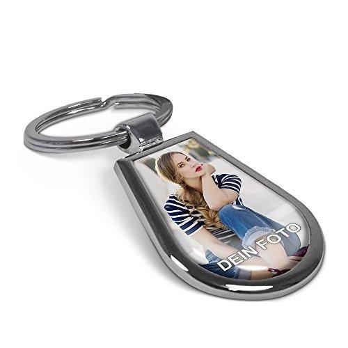 PhotoFancy® - Schlüsselanhänger mit Foto bedrucken lassen - Chrom-Anhänger mit eigenem Bild personalisieren (Schlüsselanhänger Tropfen)