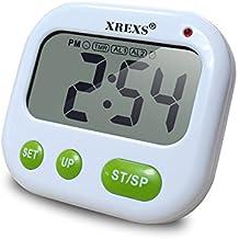 Temporizador de cocina, XREXS vibración Reloj despertador con pantalla grande LCD retroiluminada, Count Down Hasta temporizador cronómetro/de bolsillo para dormir/Cálculo/cocina/enfermería/Lab/Reunión (batería incluida)