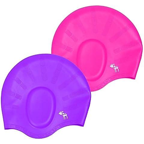 The Friendly Swede Pack de 2 Gorros de Natación de Silicona para Nadadores con Pelo Largo - GARANTÍA DE POR VIDA