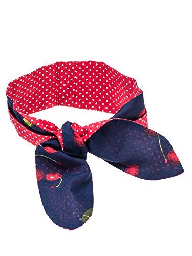 SETRINO® Halstuch Nickituch Bandana Haarband Rockabilly Retro Look rote Kirschen auf (1950 Frisur)