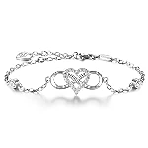 blinggem bracelet ensemble pour toujours argent sterling 925 or blanc plaqu coeur infinity en. Black Bedroom Furniture Sets. Home Design Ideas
