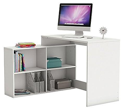 Eckschreibtisch Computertisch Schreibtisch Bürotisch winkelschreibtisch in perle weiß / Matt / 112 x 100,7 x 76,7cm - links oder rechts montierbar