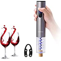 Ankway Automatisch Elektrischer Weinöffner Flaschenöffner Korkenzieher mit Kapselschneider, Batteriebetrieb - Silber-Grau