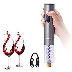Idea Regalo - Ankway Cavatappi Elettrico Apribottiglie Elettronico Opener Bottiglia di Vino Elettrico con Rimovibile Tagliacapsule Foil Cutter (Grigio Argento)