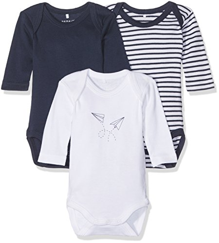 NAME IT Baby-Jungen Body Nbmbody 3P LS Dress Blues Noos, 3er Pack, Mehrfarbig (Dress Blues), 62