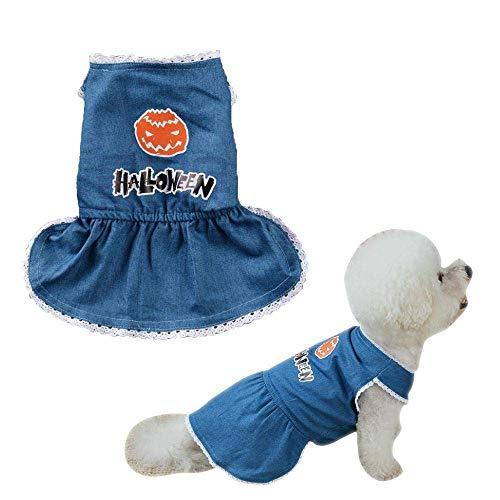 idung, Hund Halloween Denim Jean Kürbis niedlichen Kostüme Haustier Hund Kleidung handgemachte Jeans Rock Prinzessin Lace Hemline Kleid für Urlaub/Daily Dressing (XS) ()