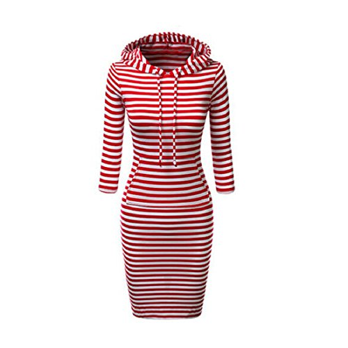 Robe,Malloom Les Femmes Chandail Tops S'habillent Occasionnels Manches Longues Hoodie Pulls à Capuche Pull-Over Rouge