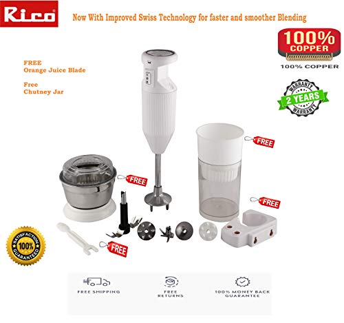 Rico Hand blender with Chutney and Juicer attachment HBCJ02 150-W (white colour)