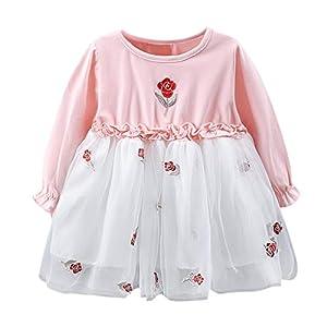 Proumy Baby Mädchen Lange Ärmel Kleidung Kleider Mädchen Blume Drucken Prinzessin Kleider Baumwolle Tüll Festzug Party Hochzeit Kleid