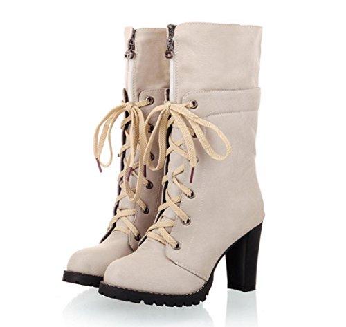 WZG mode européenne et américaine nouveau tempérament d'hiver épais avec Martin bottes dentelle ronde bottes à talons sauvages beige