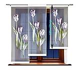 HAFT® Flächenvorhang kurz, Panel kurz, Schiebevorhang kurz, mit Tunneldurchzug Gardine, Vorhang (120 x 50 cm)