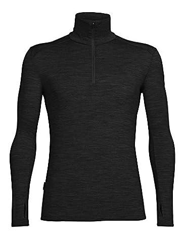 Icebreaker Men's Tech Top Long Sleeve Half Zip Base Layers, Black/Black/Black, X-Large