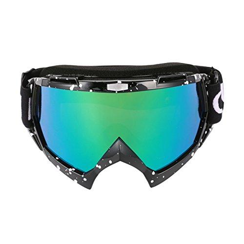Cuzaekii MT003 Anti Nebel UV400 MTB Schmutz Fahrrad ATV Motorrad Motocross Rennen Brille Ski Snowboard Schneemobil Gläser (Schwarz) (Schneemobil-rennen)